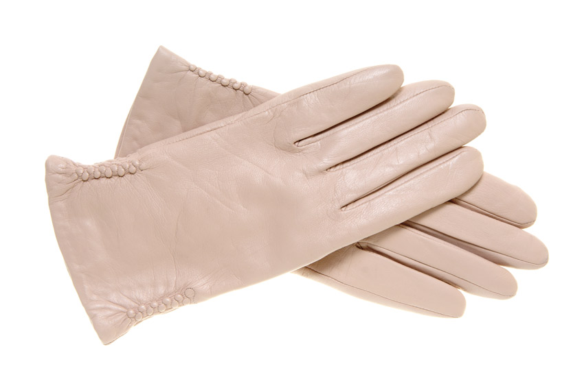 ivory-colorer leather gloves