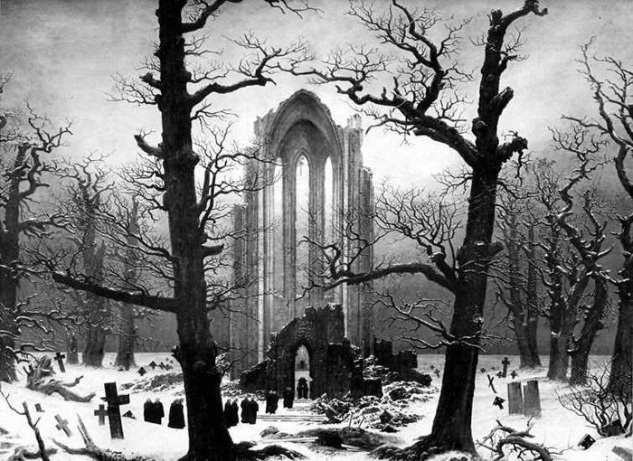 caspar david friedrich monastery graveyard in the snow