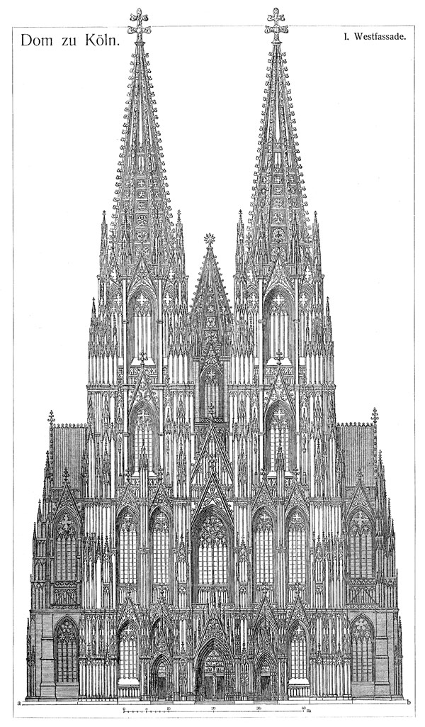 cologne cathedral historic drawing