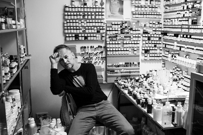 perfumer geza schon in laboratory