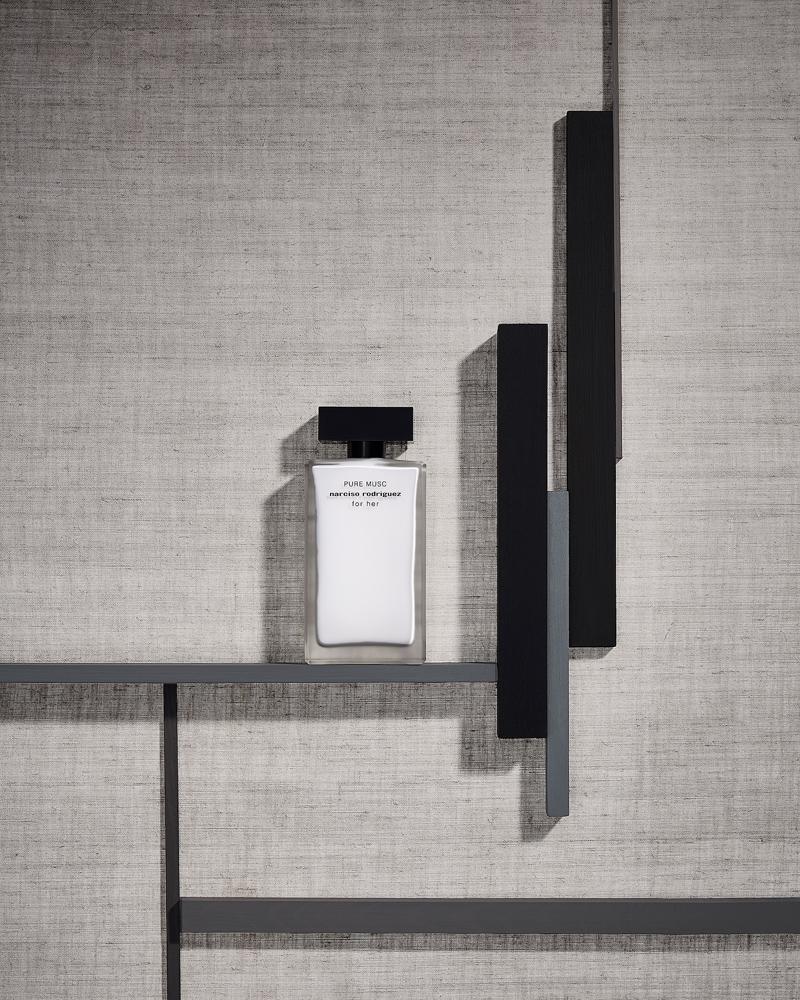 pure musk narciso rodriguez perfume still life