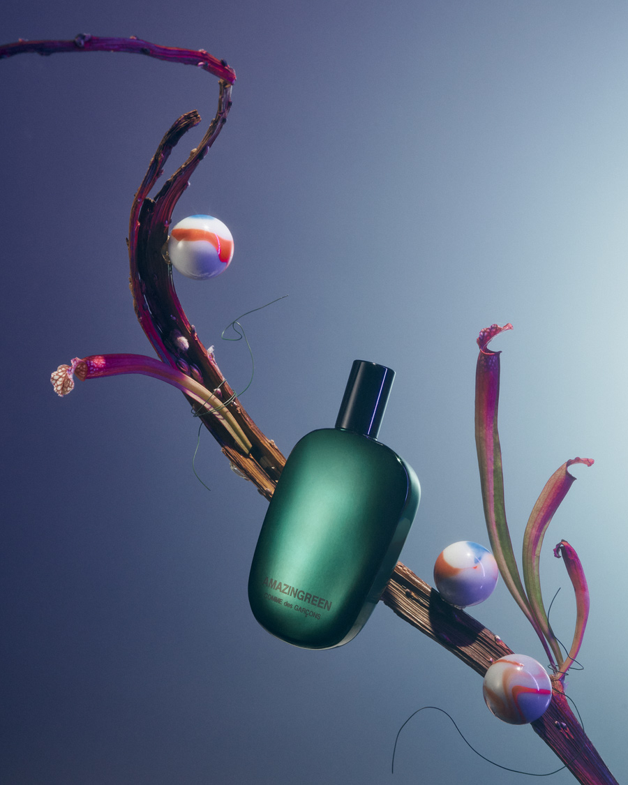 fragrance still life with amazingreen by comme des garçons